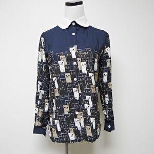 Ayilianlian cat print button down shirt